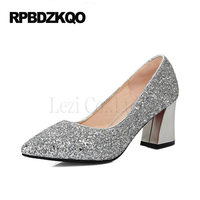 Silver Pig Glitter Gold Glittering Chunky Thick Slip On Wine Red Sexy Pointed Toe High Heels
