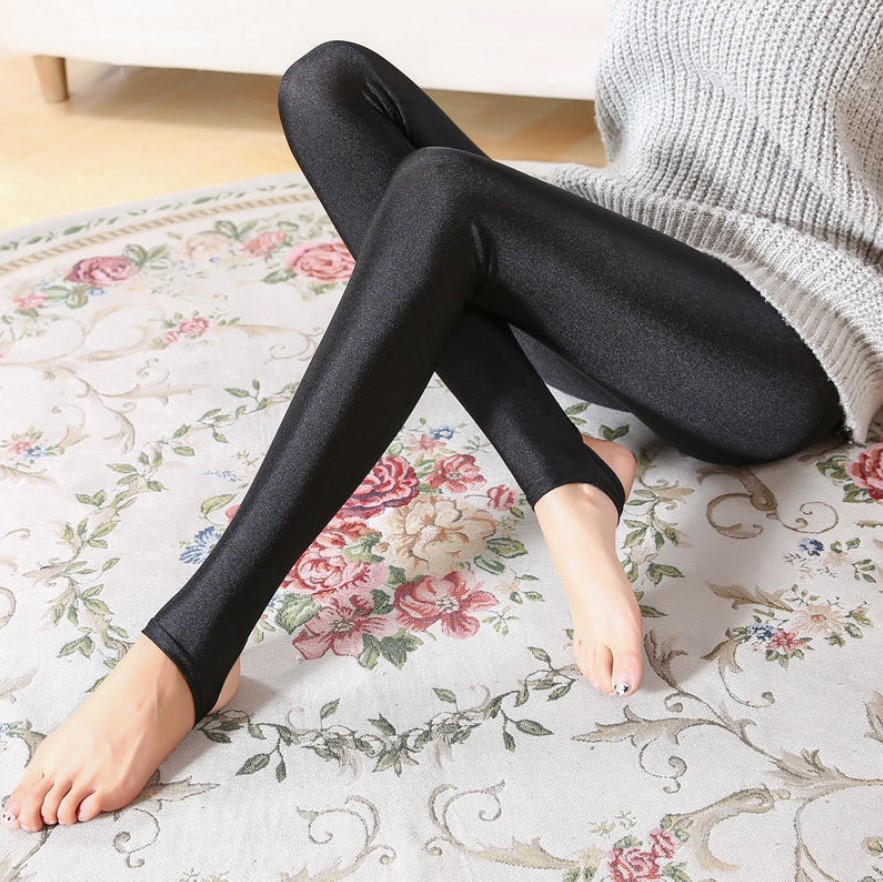 New Women Shiny Black Sliver   Legging   Ladies Push Up Slim   Leggings   Stretchy Soft Plus Size S-5XL Women   Leggings   Leotardos Pants