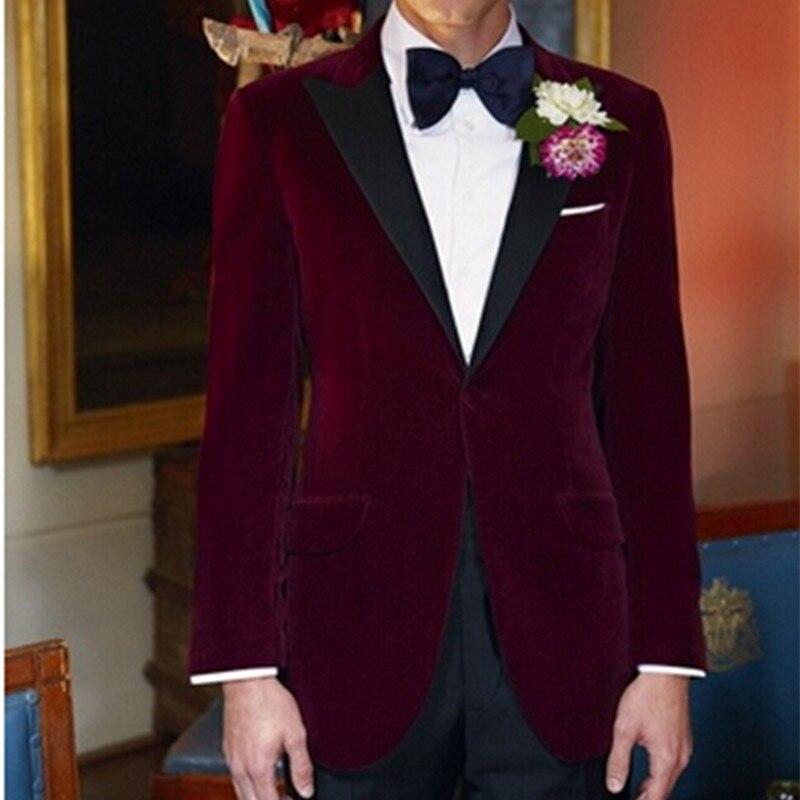 2017 royal blue velvet groom tuxedo jacket men black lapel