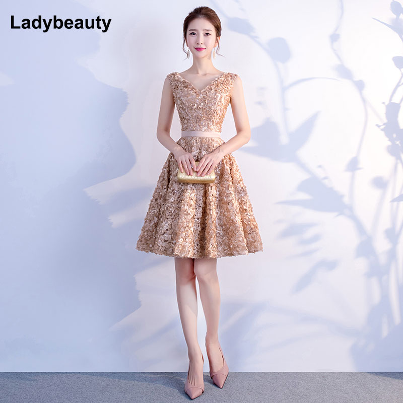 2018 New Fashion Robe de Soiree Short   Prom     Dresses   Sexy V Neck Lace petals Formal Evening   Dress   Party Gowns