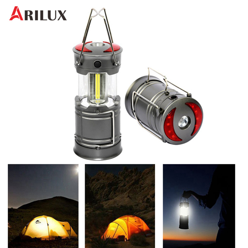 ARILUX Portable Collapsible COB LED Camping Light Flashlight Battery Powered Multifunction Outdoor Lamps