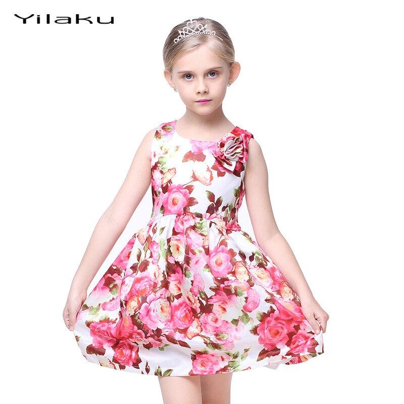 005de809e الأزهار طباعة الفتيات اللباس 2017 الصيف بلا أكمام الفتيات الملابس حزب  الزفاف زي للأطفال فساتين الأميرة فتاة اللباس CA282