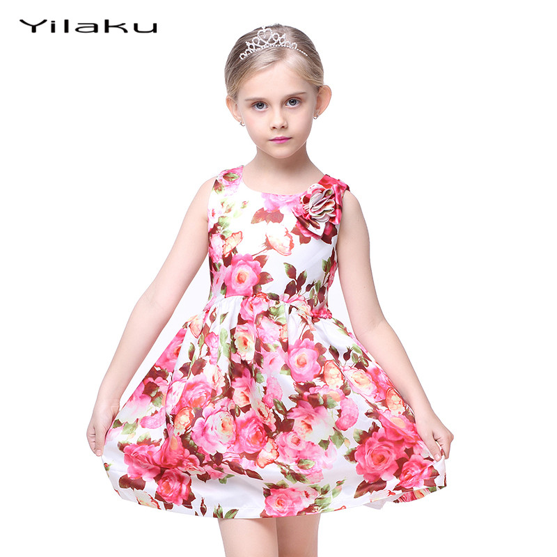 Floral print girls dress 2017 summer sleeveless girls for Wedding dresses for young girls