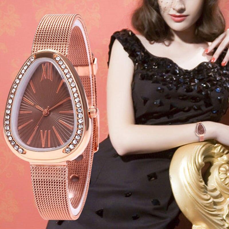 WJ-7818 Wal-joy Rhinestone Watch Stainless Steel Rose Gold Women Watch Casual Sneak Shape Quartz Wristwatch Reloj De Las Mujeres