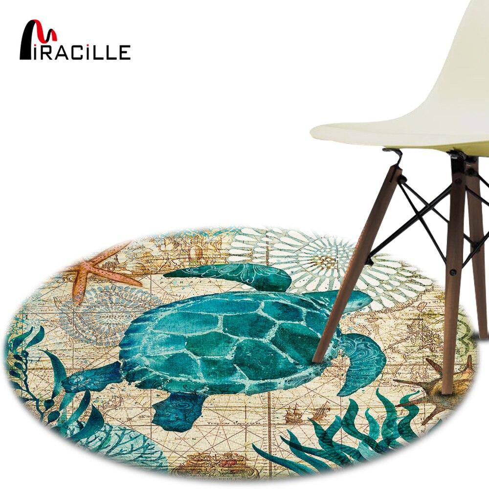 Miracille Corail Velours Chaise D'ordinateur Tapis de Sol Mer Tortue Poulpe Imprimé Ronde Tapis pour Enfants Chambre Jouer Tente Tapis
