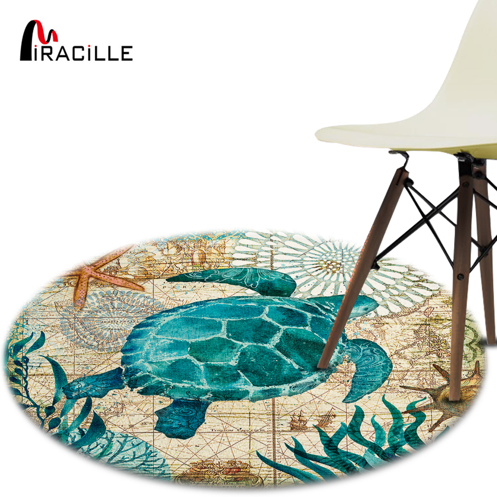Miracille Coral Velvet Computer Chair Floor Mat Sea Turtle Octopus Printed Round Carpet for Children Bedroom Play Tent Area Rug