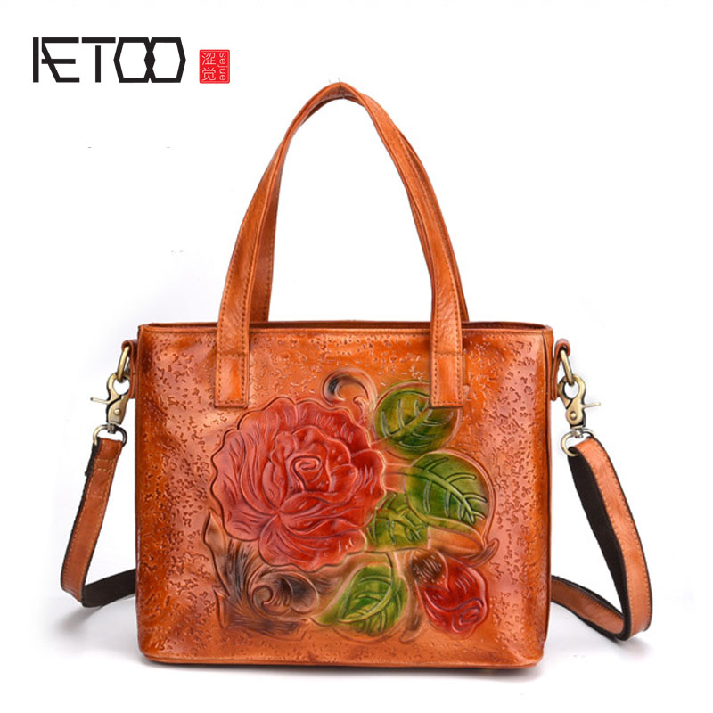 AETOO New leather leather Europe and the United States Ms. handbag Shoulder retro rubbing color bucket bag casual handbags aetoo europe and the united states casual leather handbags soft leather cowhide pure mori department of hong kong retro wide sho