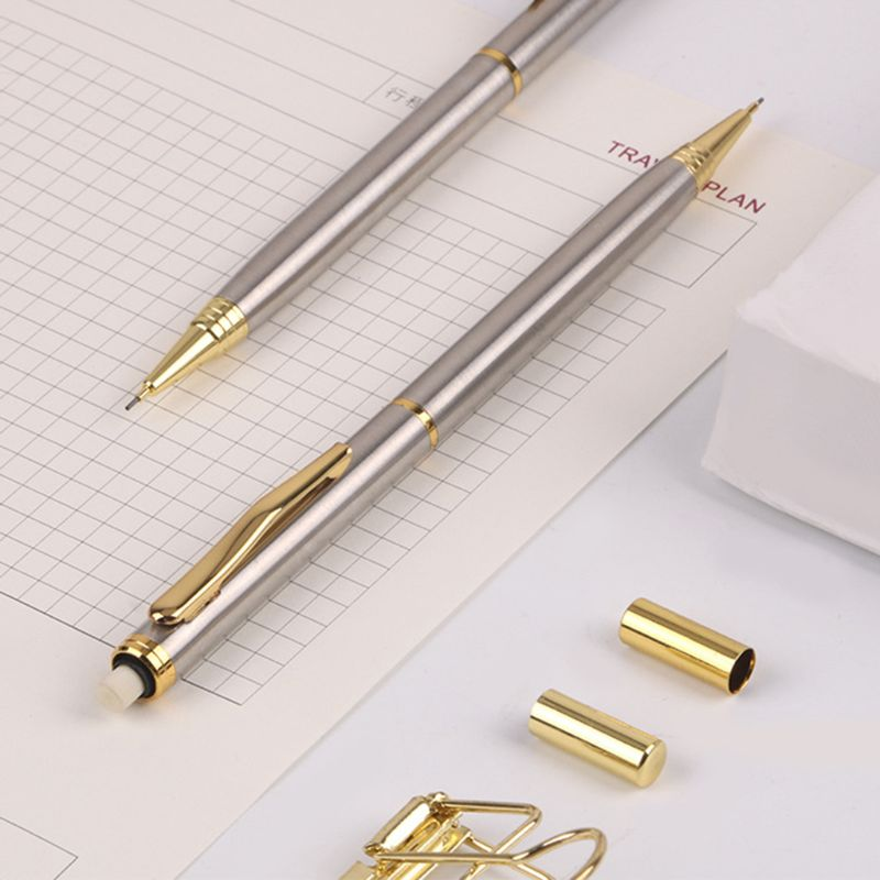 0.5mm Commercial Metal Ballpoint Pen Mechanical Pencil Automatic Pens Writing Drawing School Supplies Stationery