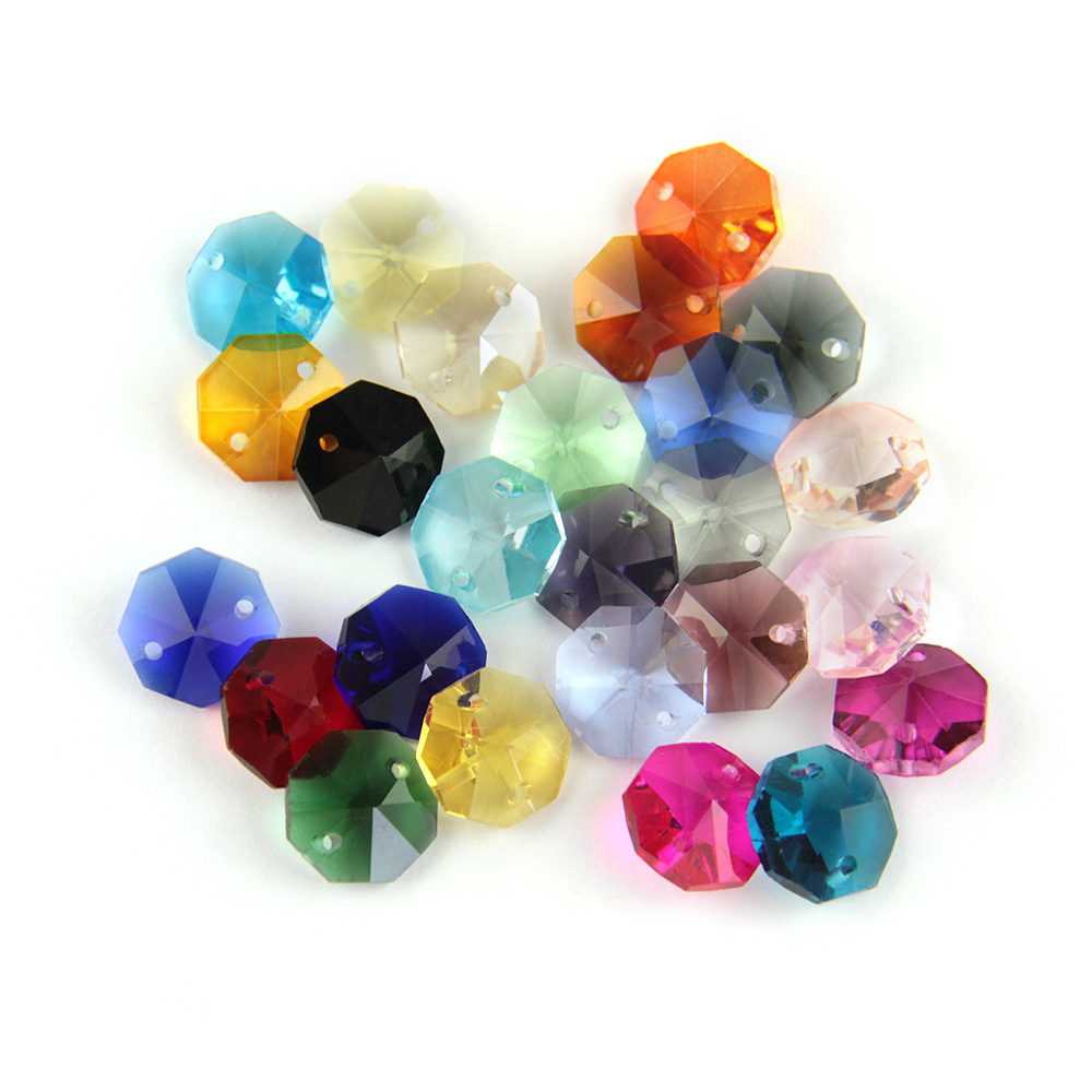 6 MACHINE CUT GLASS 2 HOLE CONNECTOR BEAD BEADS • 10mm • Assorted Colors!