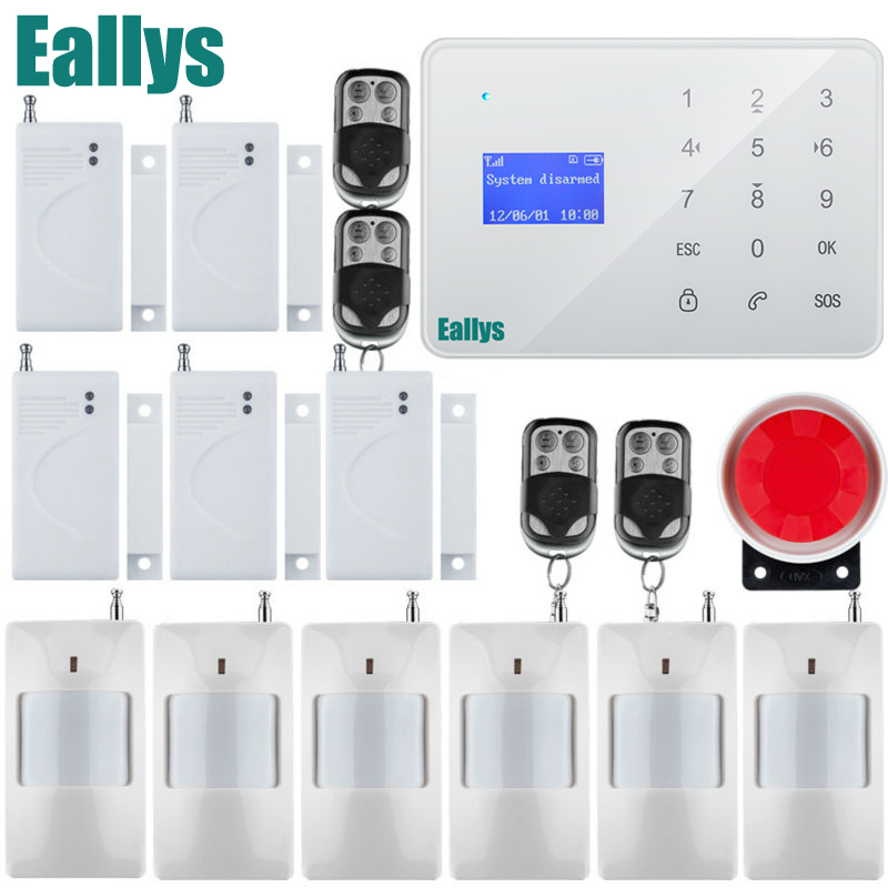 French Russian Spanish English Voice Wireless Wired Home Security GSM Alarm System LCD Display Touch Keypad gsm alarm system lcd display home security wired siren kit sim sms auto dialer pir detect english russian spanish french voice