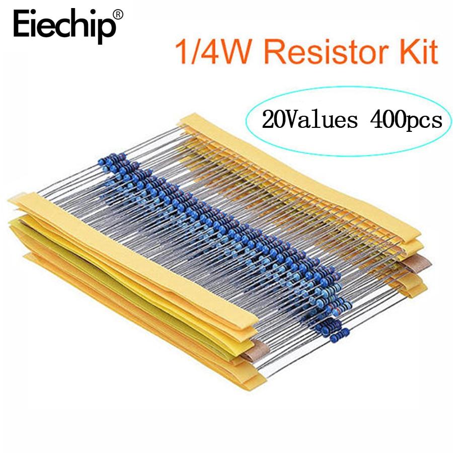 400pcs/lot 1/4W Metal Film Resistor Assortment Kit 10ohm - 1M Ohm 1% Resistance Set 1K/10K/4.7K/470/680 Ohm Electronic Resistors