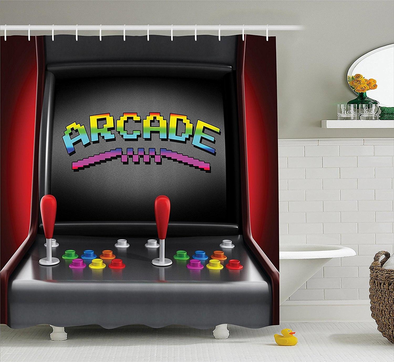Shower Curtain Set Arcade Machine Retro Gaming Fun Joystick Buttons ...