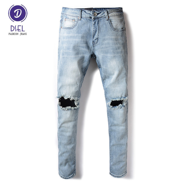 efa84627ea5 European High Street Fashion Mens Jeans Light Blue Youth Style Knee Hole  Ripped Jeans Men DSEL Brand Stretch Skinny Jeans Pants