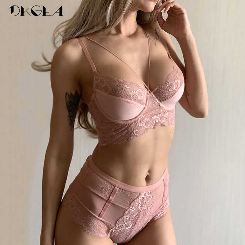 New High Waist Gray Bra Embroidery Lingerie Sets Fashion Brassiere Transparent Black Deep V Lace Underwear Women Bra Set Sexy