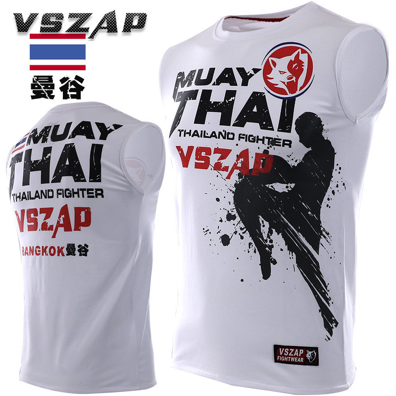 VSZAP MMA Muay Thai Boxing Shorts Jiu Jitsu Sport T Shirt Training Wear Breathable Clothing MMA Sleeveless Shirt Boxing Clothing