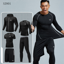 Hot Sale Under Armour Men Gym 옷 남성 야외 training Running Sets Fast drying Running Sport 한 벌 5 개 Size m-4XL(China)