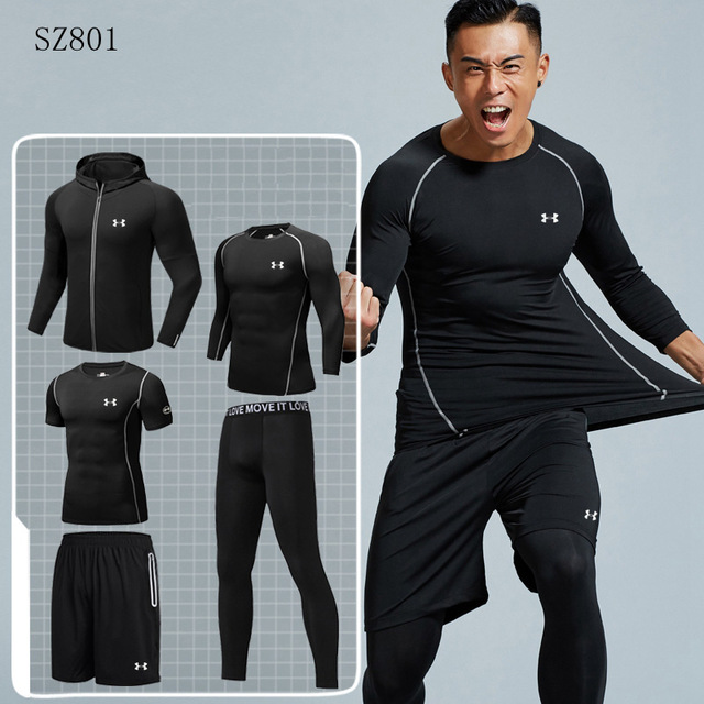 74bb75aaf336 US $53.8 22% OFF|Under Armour Men Training Clothing ropa deportiva hombre  gym Running Sets Quick drying Comfortable Sport Suit 5 pieces M 4XL-in ...