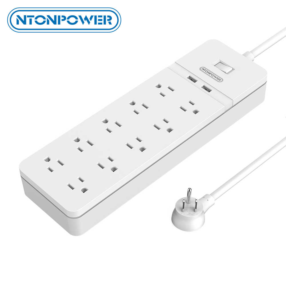 NTONPOWER Surge Protector met 1.5 M Netsnoer USB Charger Smart Power Strip met 8 AC 2 USB US Plug voor home office