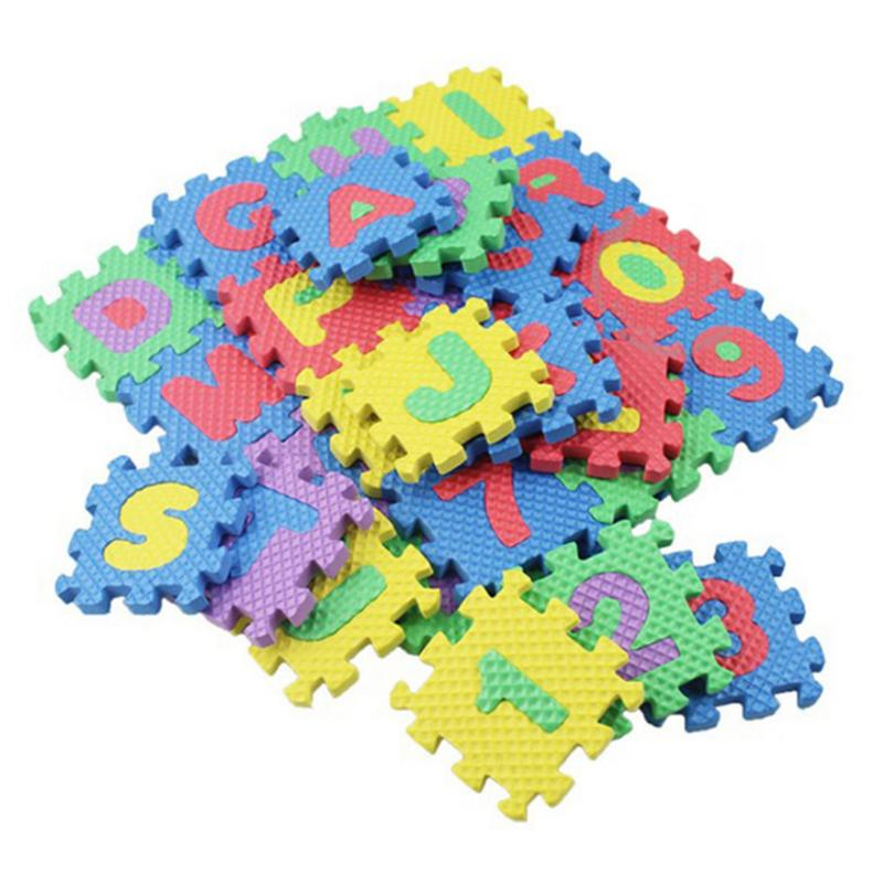 36PCS/Set Foam Floor Mats Children's Cartoon Alphanumeric Crawling Baby 6*6cm Puzzle Kids Alphabet