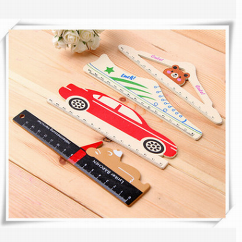 300PC 15cm Cute Cartoon Rilakkuma Wooden Ruler Creative Bus Ruler For Kids Student Gift Korean Stationery Free DHL Shipping