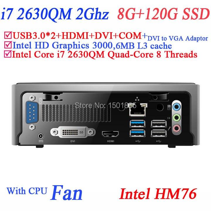 2015 cheap 12v mini computer with Intel Quad Core i7 2630QM 2.0Ghz 8 threads mini linux computer 8G RAM 120G SSD