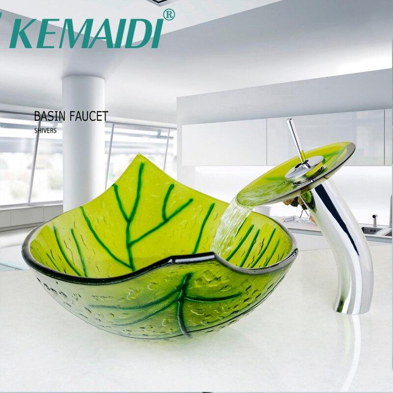 KEMAIDI Pintados À Mão Forma de Folha Verde Lavatório Do Banheiro Bacia de Pia Com Mixer Bacia Pop Up Ralo Da Pia Conjunto Vidro da Têmpera Veseel Conjuntos