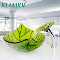 Hand Painted Green Leaf Shape Bathroom Wash Basin Sink With Mixer Pop Up Drain Sink Set