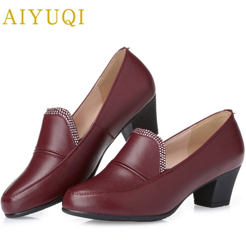 AIYUQI spring new genuine leather women shoes rhinestone breathable plus size 41 #42 #43 #comfortable light mother shoes women aiyuqi 2018 spring new genuine leather women shoes plus size 41 42 43 comfortable round head fashion handmade ladies shoes