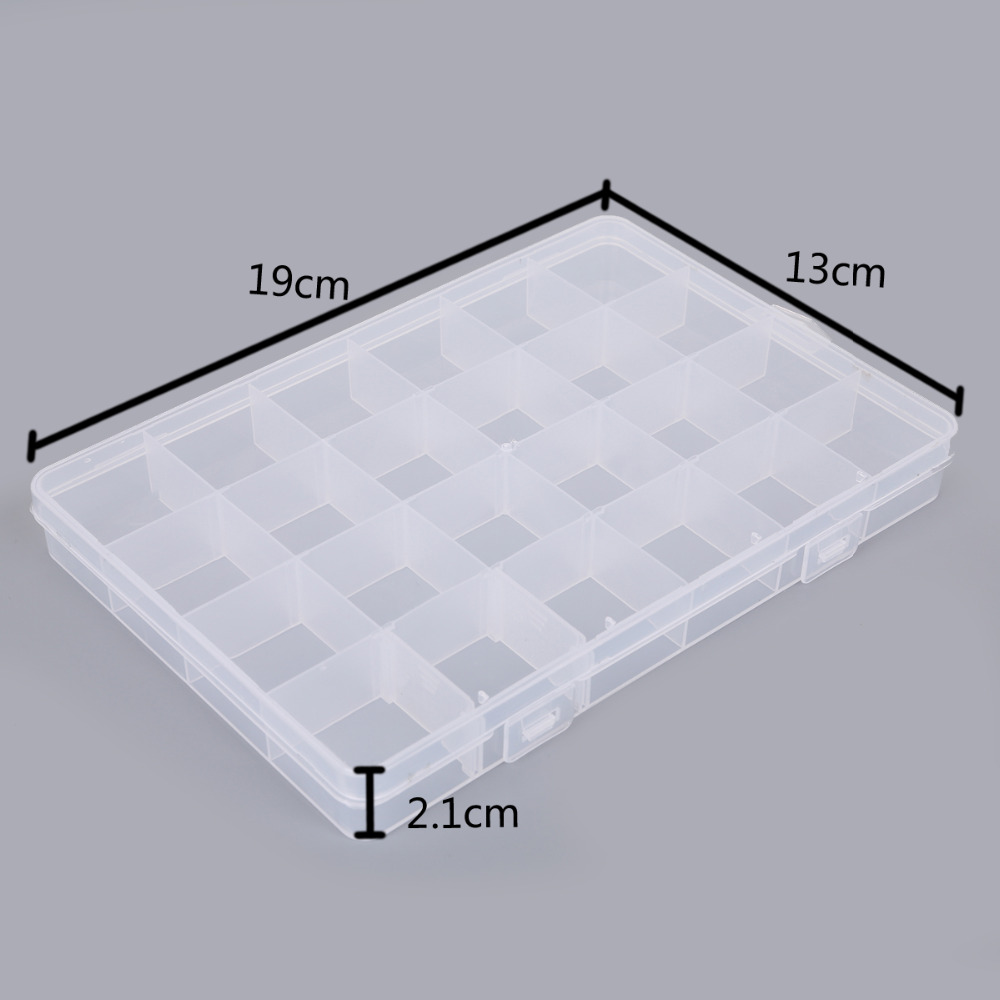 24 Slots Adjustable Jewelry Necklace Transparent Storage Box Case Holder Craft Organizer Beads Jewelry Container
