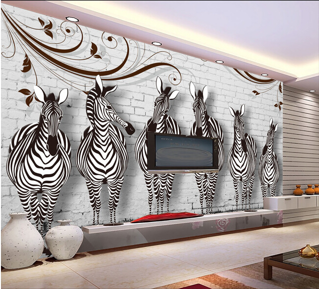 Custom 3D murals, cartoon zebra brick restoring ancient ways,papel de parede,living room sofa TV wall children bedroom wallpaper custom 3d murals cartoon wolf papel de parede hotel restaurant coffee shop living room sofa tv wall children bedroom wallpaper