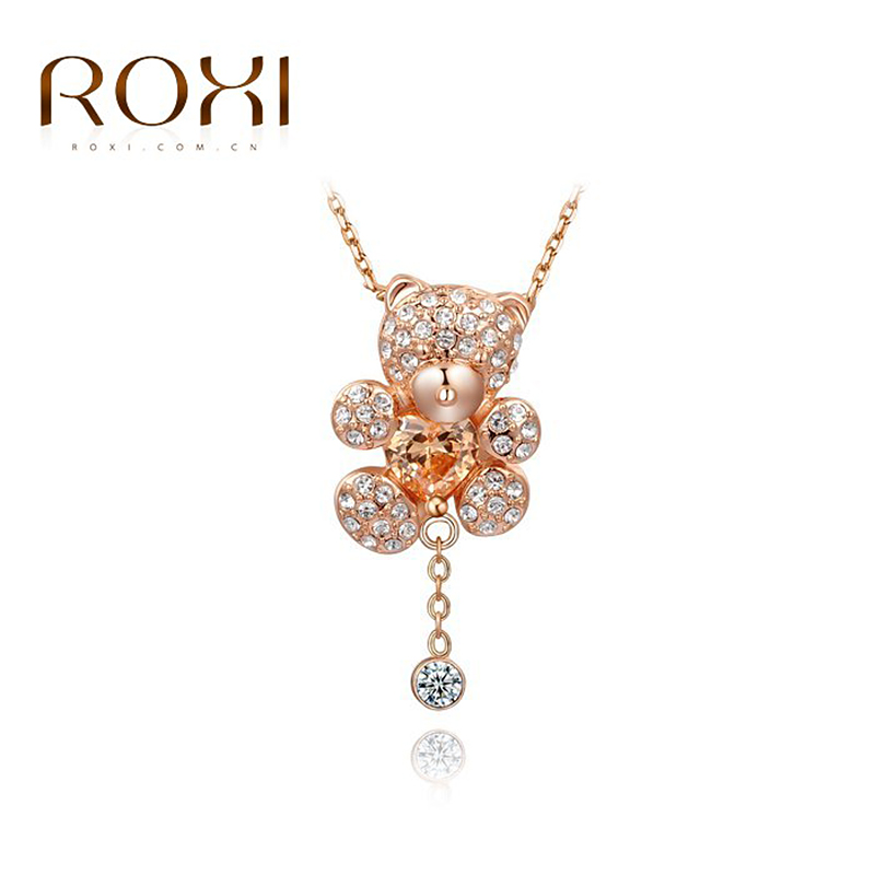 ROXI Little Bear Pendant Necklace with Heart Crystals Rose Gold Color Hand Made Fashion choker necklace for Girls Party Jewelry