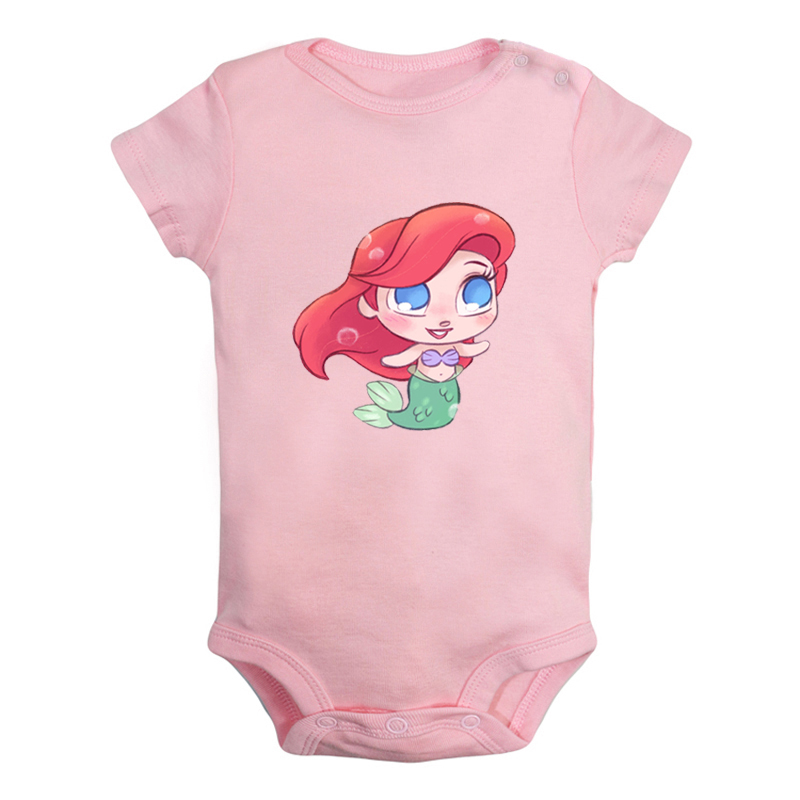 Mermaid Newborn Infant Toddler Baby Girls Boys Bodysuit Short Sleeve 0-24 MonthsBlack 12M