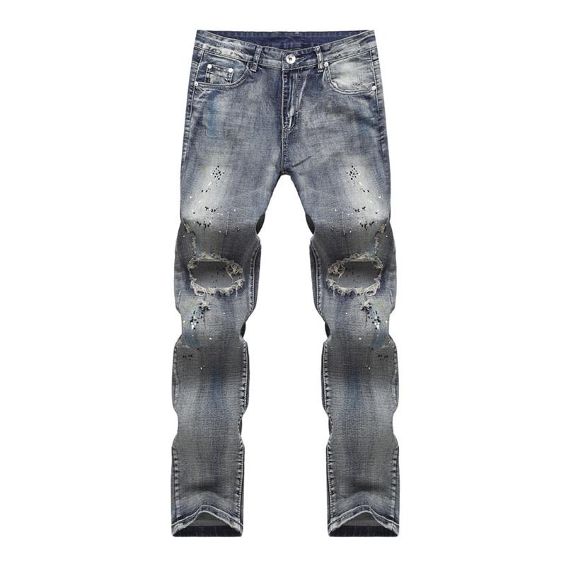 ФОТО 2016 Hip-hop Hole Jeans Mens Denim Distressed Masculina Men's Slim Long Pants Rock Ripped Biker Jeans Homme Fear