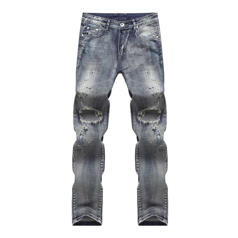 Hip-hop Hole Jeans Mens Denim Distressed Masculina Men's Slim Long Pants Rock Ripped Biker Jeans Homme Fear Colored Men Jeans 2017 men s slim jeans pants hip hop men jeans masculina black denim distressed brand biker skinny rock ripped jeans homme 29 40