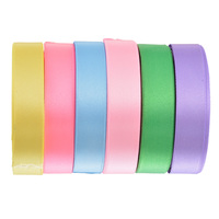 6Rolls 20mm Satin Ribbon Wedding Party Christmas Festive Event Decoration Crafts Gifts Wrapping Apparel Sewing Fabric Supplies