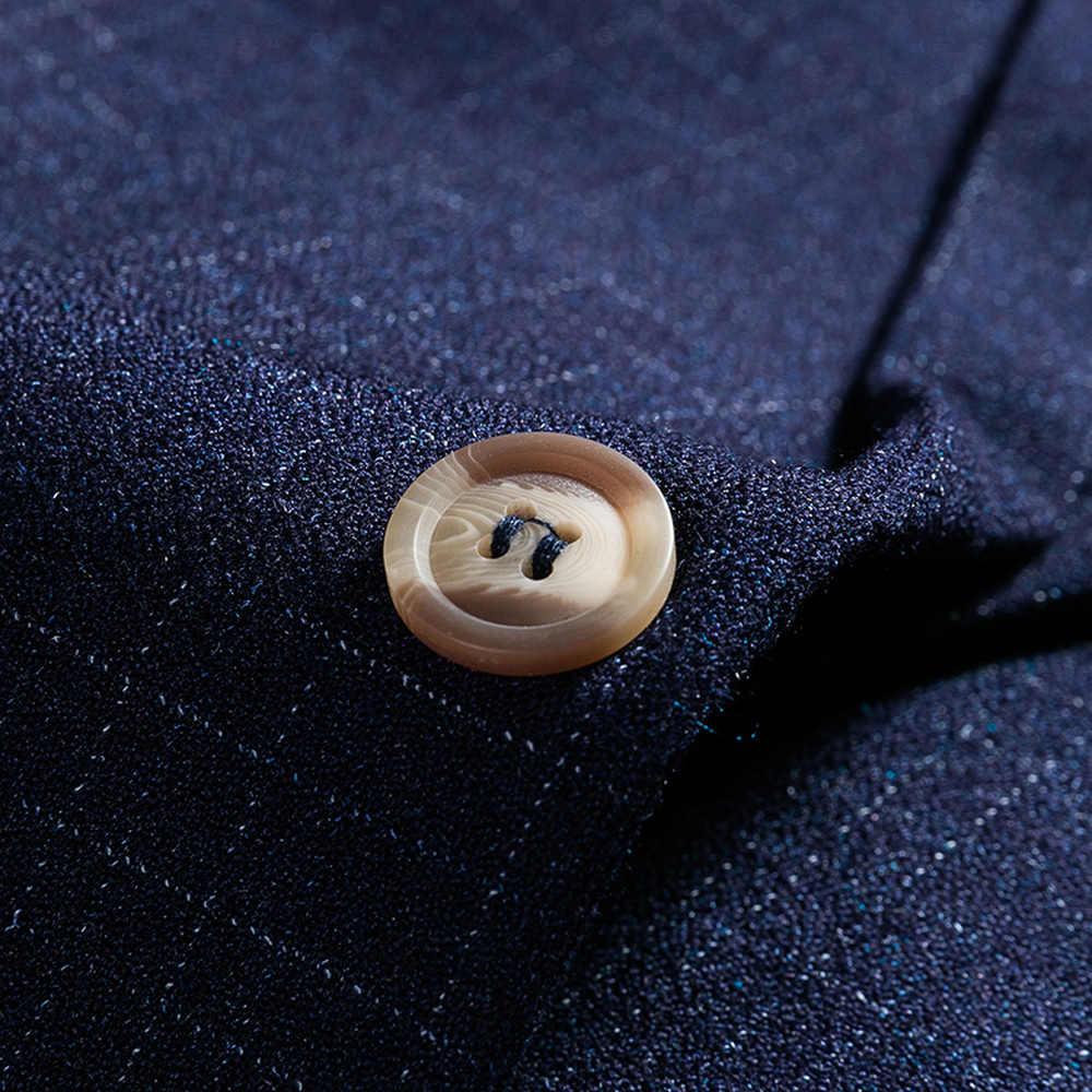 2018 高品質男性スーツグリッドストライプ男性のスリムビジネス花婿の付添人タキシード結婚式のスーツ (ジャケット + ベスト + パンツ) スリーピース M-6XL