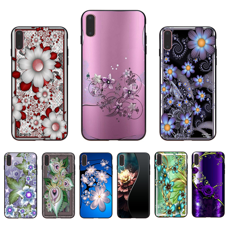 IMIDO Soft silicone Exquisite luxury flower design phone case for iphone X XS XR XSmax 7/8/6s/6plus 5/6S 7 8 6 5 SE TPU shell