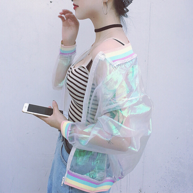 9e85a62485d Iridescent Transparent Jacket Holography Rainbow Sheer Tumblr Grunge 90s  Fashion-in Basic Jackets from Women s Clothing on Aliexpress.com