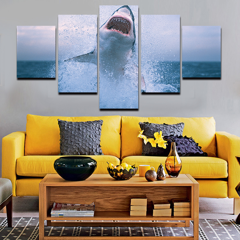 Fallout No Oil Painting New Wall Art 5 Pcs 2016 Hot Sell Hd Shark Picture Modern Home Decor Painting Print For House Decorate