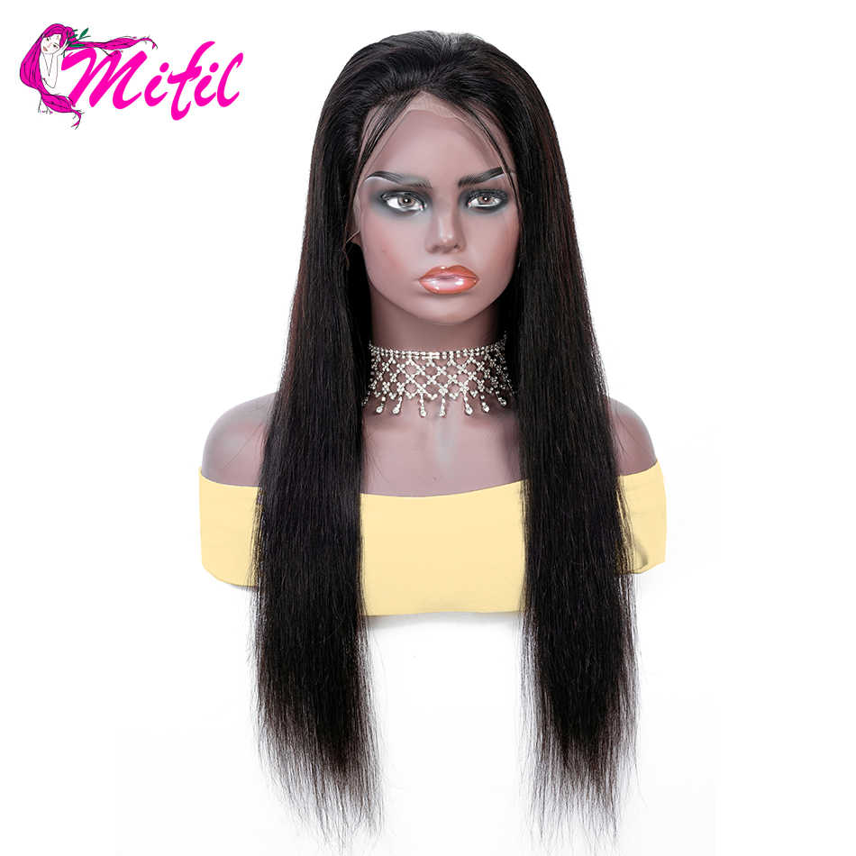 Mifil бразильские парики из натуральных волос на кружеве для черных женщин 13x4 remy волосы прямые парики на шнурках спереди предварительно выщипанные волосы полный конец