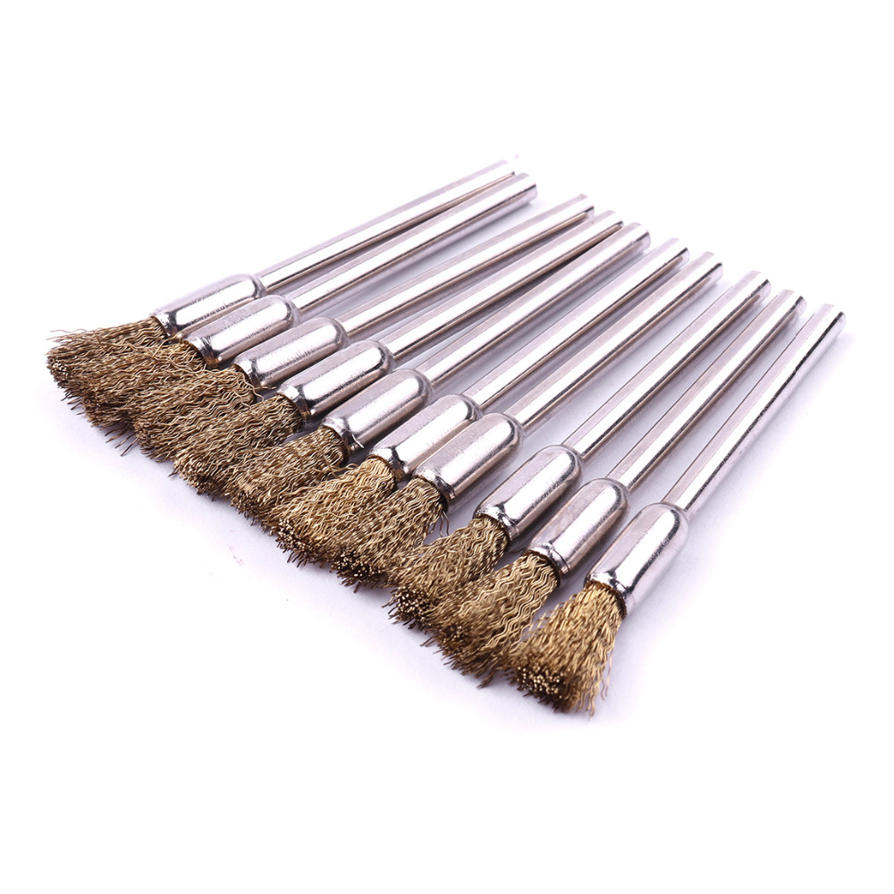цена на Useful 10Pcs 5mm Brass Wire Brush Good Toughness Polishing Brush For Metal Rust removal Jade Polishing Wood Carving Hand Tools