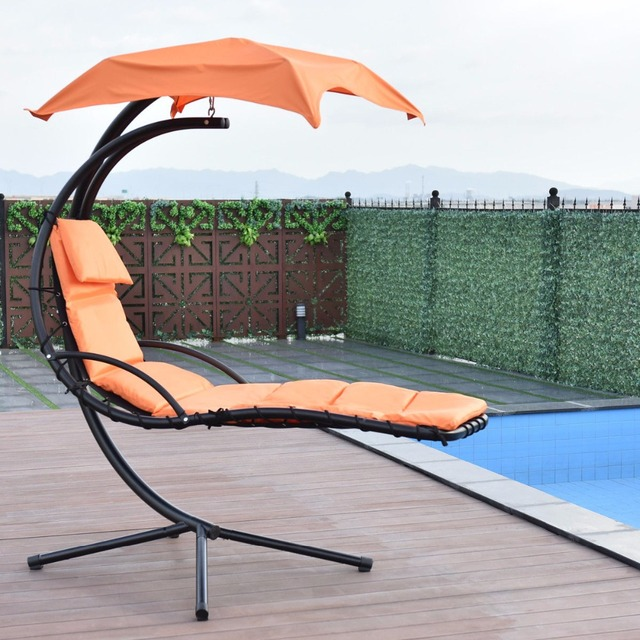 Superieur Giantex Hanging Chaise Lounger Chair Arc Stand Swing Hammock Chair Canopy  Orange Outdoor Furniture OP3349