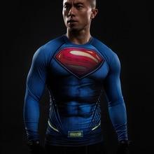 Superman 2016 3D Printed Men Compression Crossfit T-shirts Full Sleeve