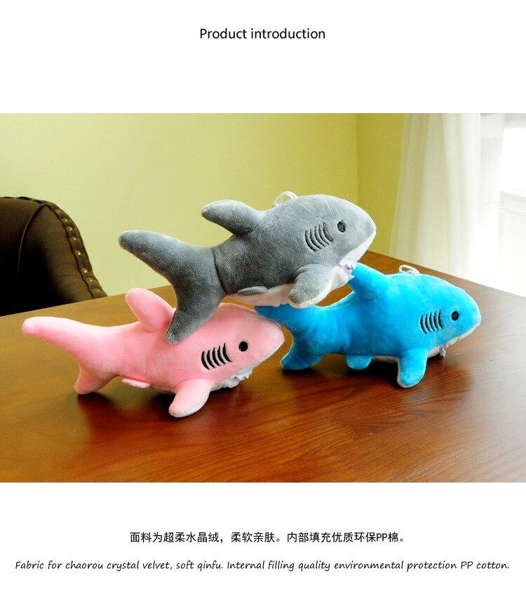 """Happy Shark"" Cute Plush Shark (Random Color blue / grey / pink) 2"