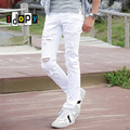 Mens White Ripped Jeans With Holes Super Skinny Slim Fit Destroyed Distressed Denim Pants For Male