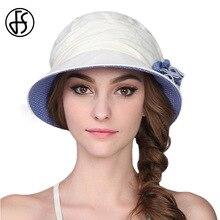 FS 100% Cotton Summer Hats For Women Foldable Wide Brim Casual Blue Beige Sun  Hat 48fcfc2b9fff