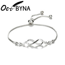 Fashion Silver Infinity Charm Bracelets & Bangles for Women Zirconia Snake Chain Pandora Bracelet Girl Wedding Jewelry Gift(China)