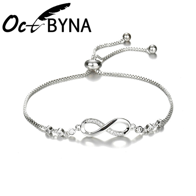 8b01d97b2 Fashion Silver Infinity Charm Bracelets Bangles For Women Zirconia Snake  Chain Pandora Bracelet Wedding Jewelry Gift