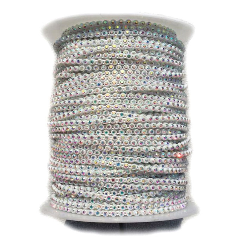 Image 2 - Taidian Transparent Color SS8 Glass AB Sew On Rhinestone Trim Banding For Bead work 50yards/roll-in Jewelry Findings & Components from Jewelry & Accessories