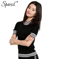 Sparsil Women's Spring Half Height O Neck Short Sleeve Sweater Solid Cotton Blend Slim Style Pullover Knitwear